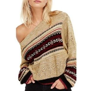 Free People Sky lake sweater gold red lurex small